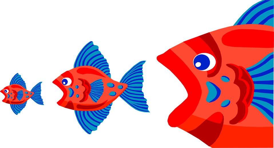 Fish filet food clipart graphic free download Fish | Free Stock Photo | Illustration of three red fish eating each ... graphic free download