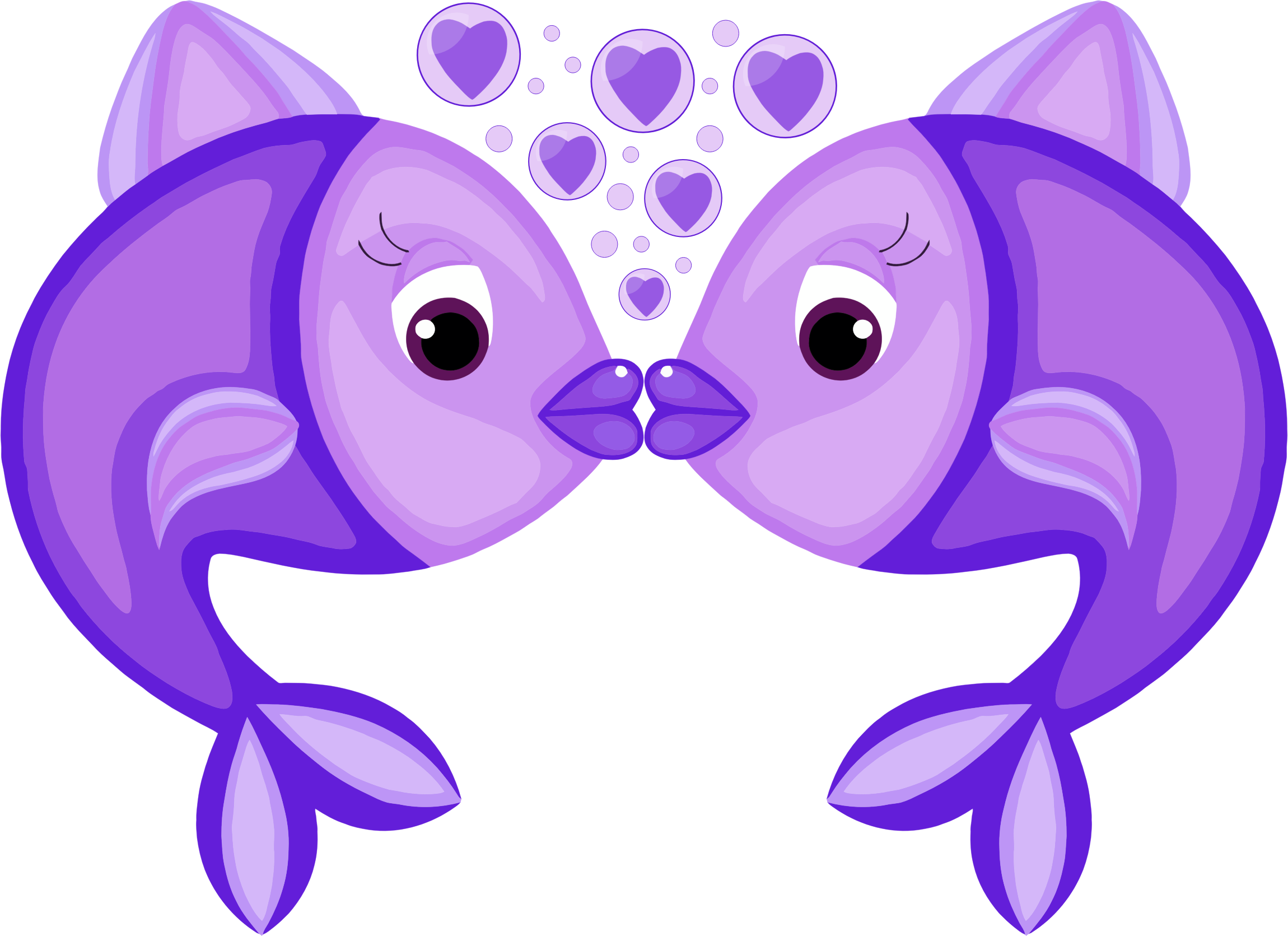 Fish in love clipart. Blue big image png