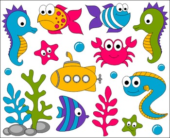 Fish in ocean clipart graphic freeuse stock Under The Sea Clip Art - Ocean ClipArt - Fishes, Crab, Seahorse, Eel ... graphic freeuse stock