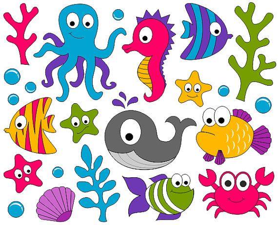 under the sea. Fish in ocean clipart