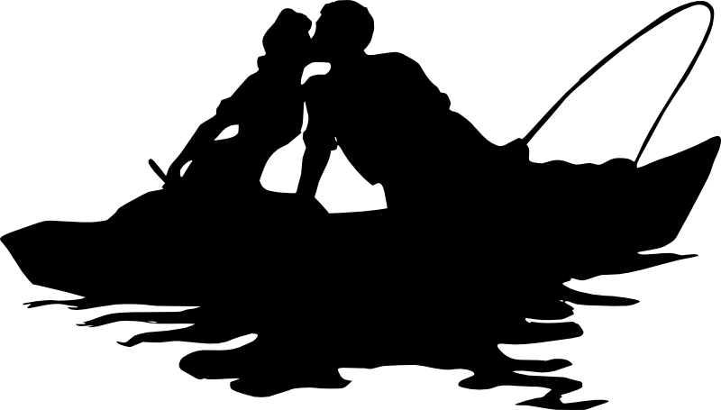 Fish kiss clipart. Fishing boat silhouette clip