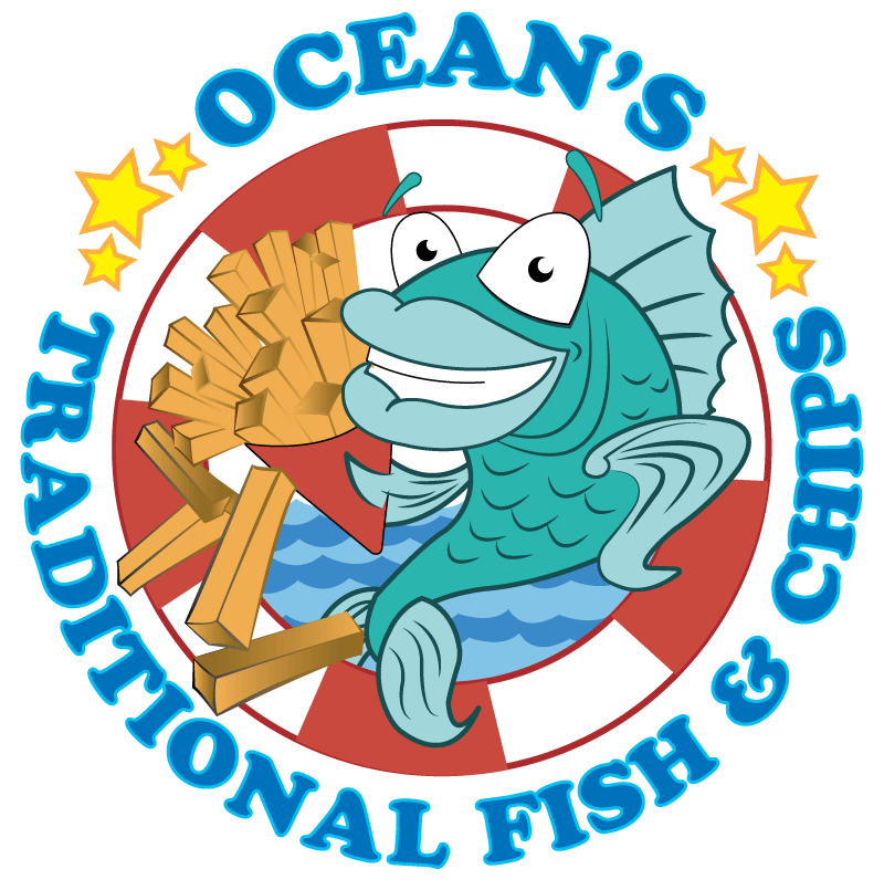 Oceans and melksham takeaway. Fish n chips clipart