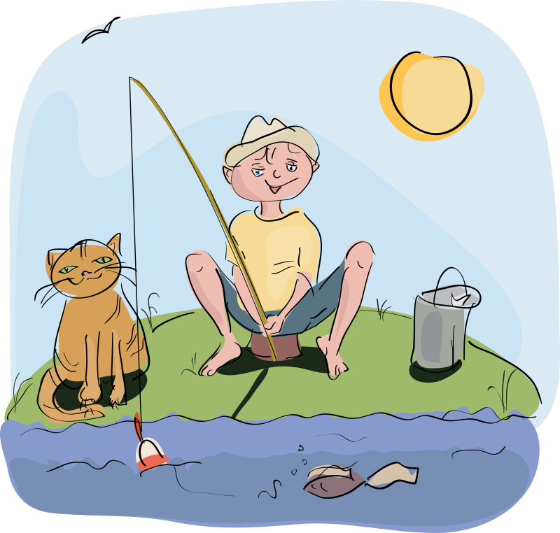 Fishing in river clipground. Fish on a hook clipart