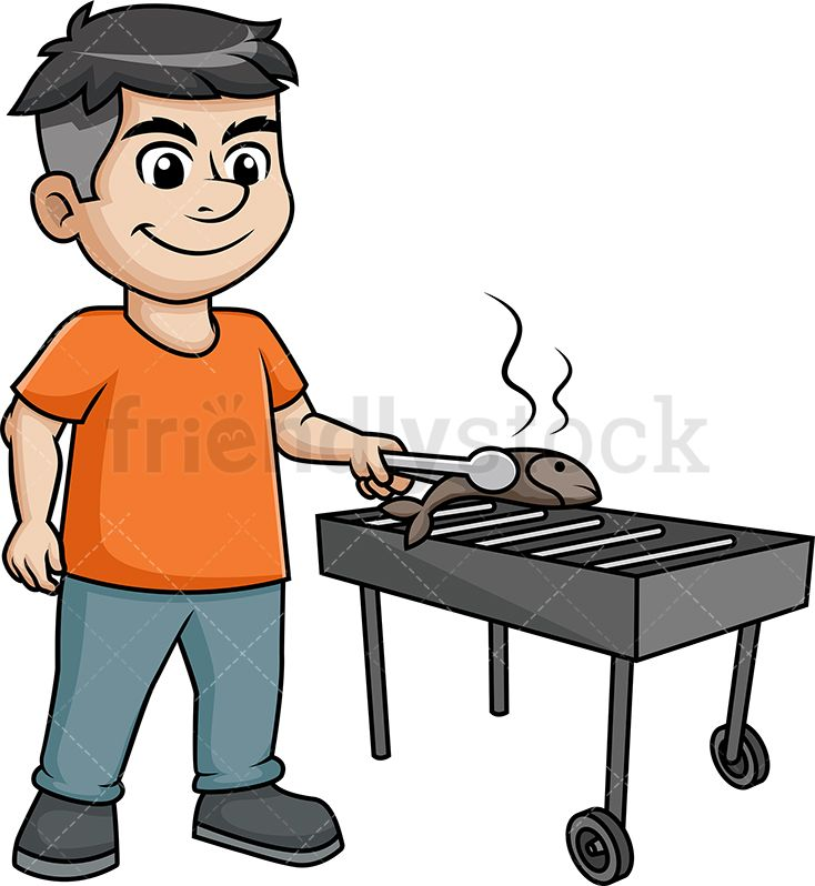 Fish on the grill clipart. Man grilling bbq cooking