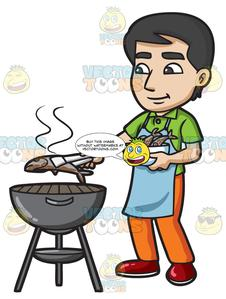 A man grilling bbq. Fish on the grill clipart
