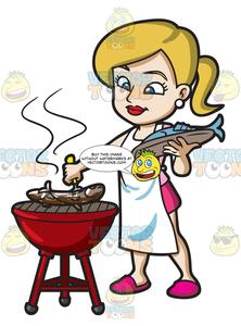 A woman grilling couple. Fish on the grill clipart