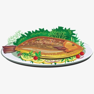 Fish on the grill clipart. Fried dish clip art