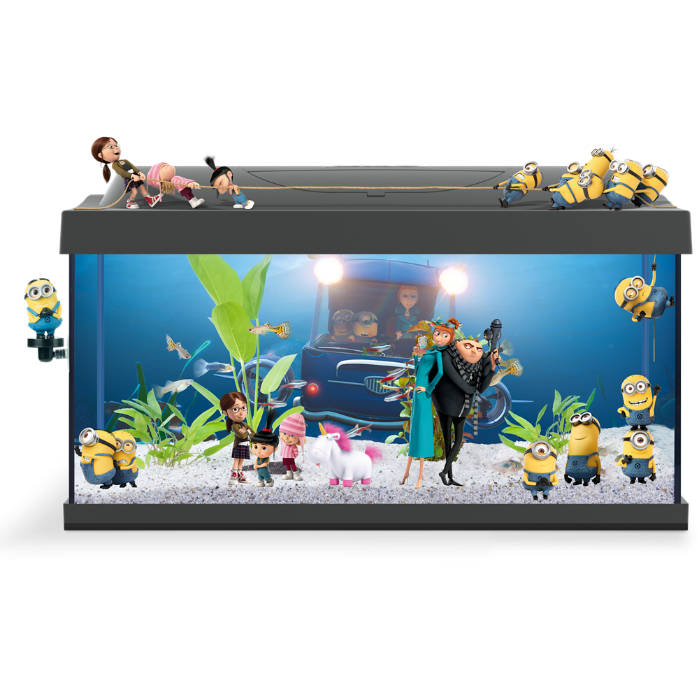 "Fish tank decorations clipart clipart black and white Tetra Starter Line Aquarium ""Despicable Me"" edition 54L clipart black and white"
