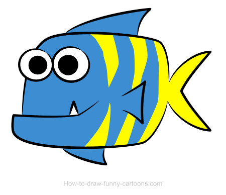 Fish with different mouth shapes with color clipart. Drawing sketching vector