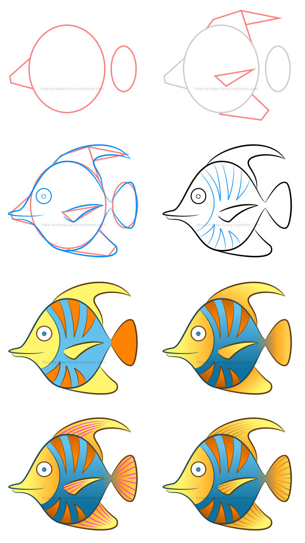 How to draw a. Fish with different mouth shapes with color clipart