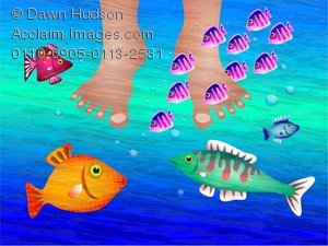 Fish with feet clipart. Illustration of a pair