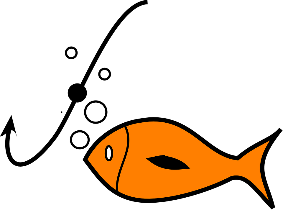 Fish with hook in mouth clipart. Clipground baiting