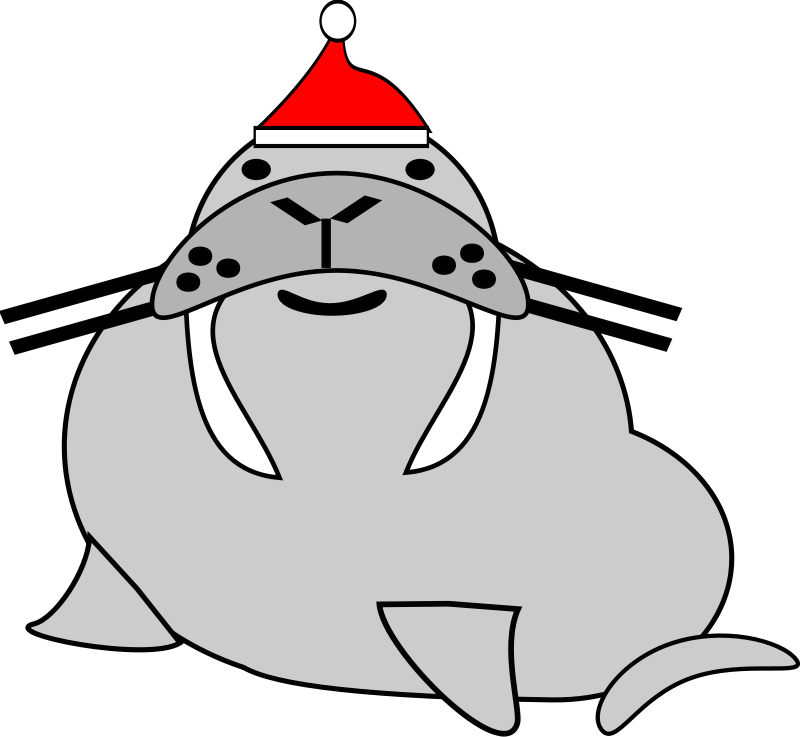 Fish with santa hat clipart svg transparent Walrus with Fish 2 Free Vector - Clip Art Library svg transparent