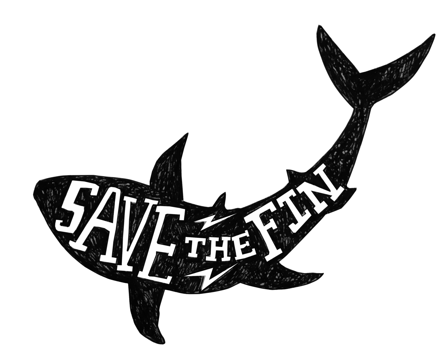 Fish with shark fin clipart black and white SAVE THE FIN black and white