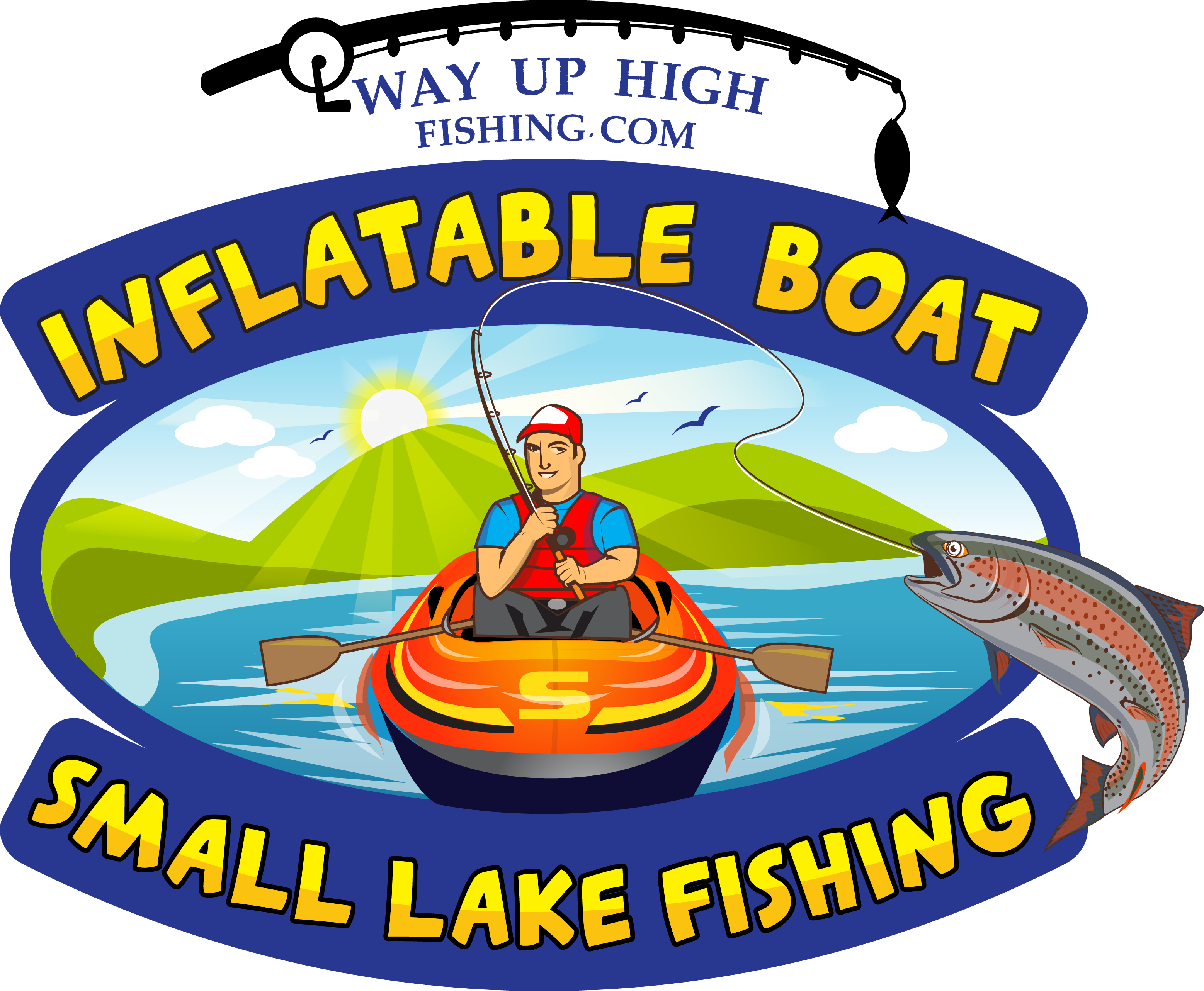Fisherman with lots of gear and one little fish clipart picture free WAY UP HIGH FISHING   Best Guide to Inflatable Boat Small Lake Fishing picture free