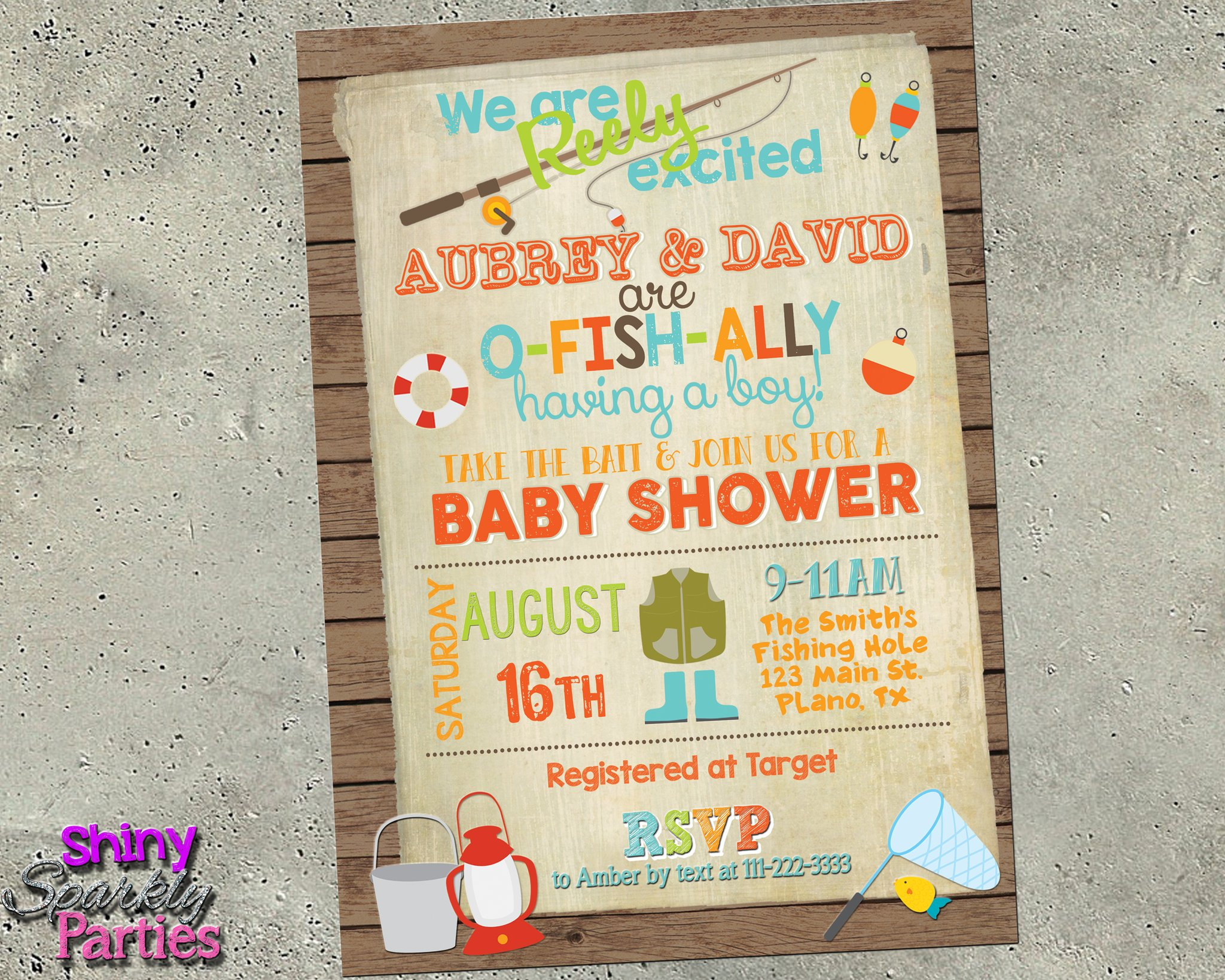 Fishing baby shower clipart png stock Fishing Baby Shower Invitation png stock