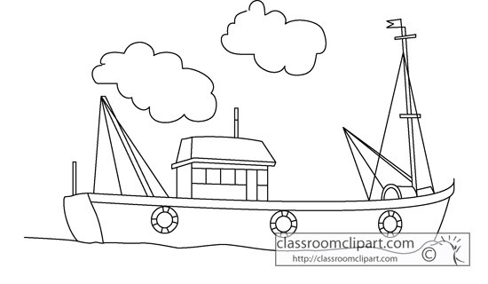 Fishing boat clipart black white. And clip art tug