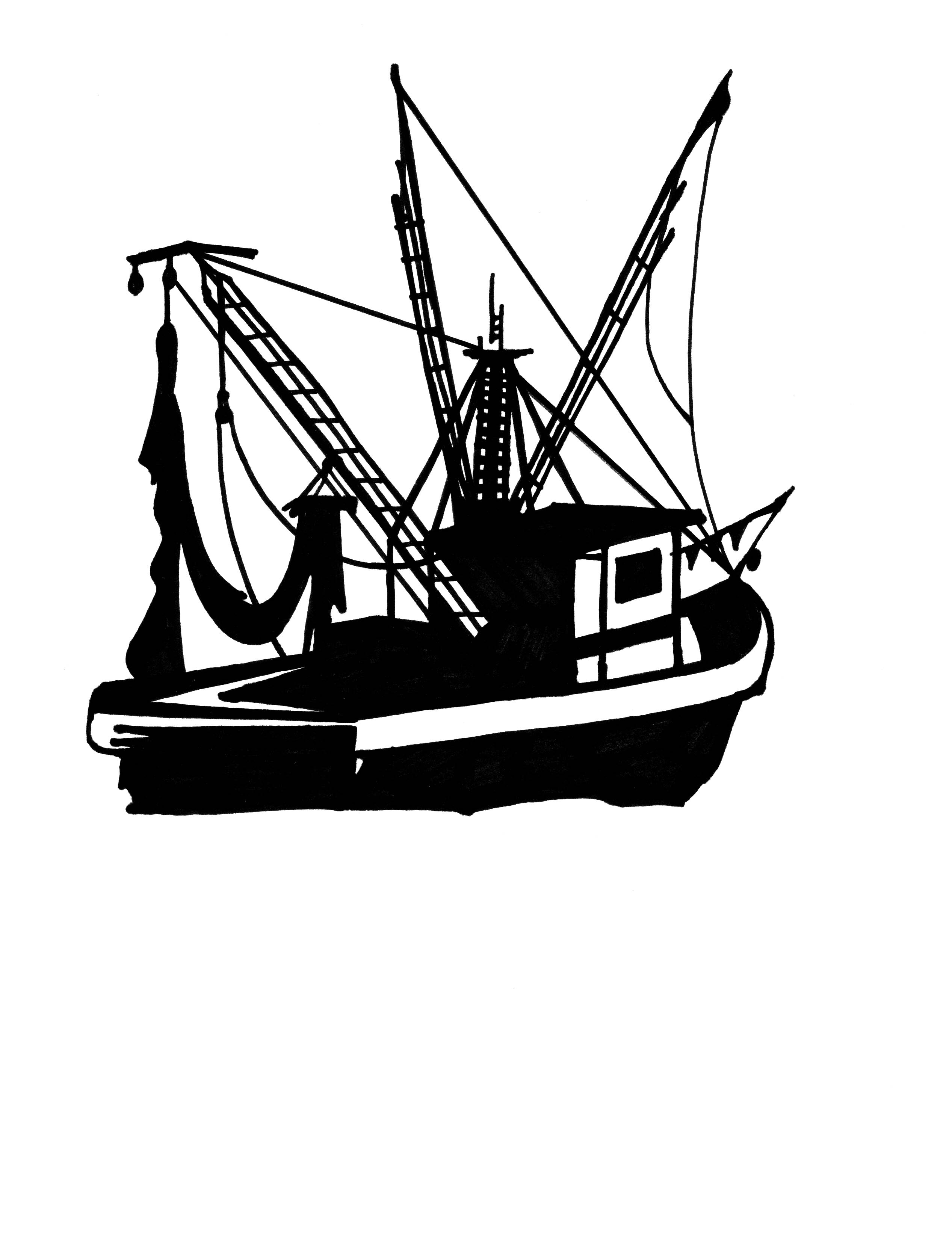 Free download best . Fishing boat clipart black white