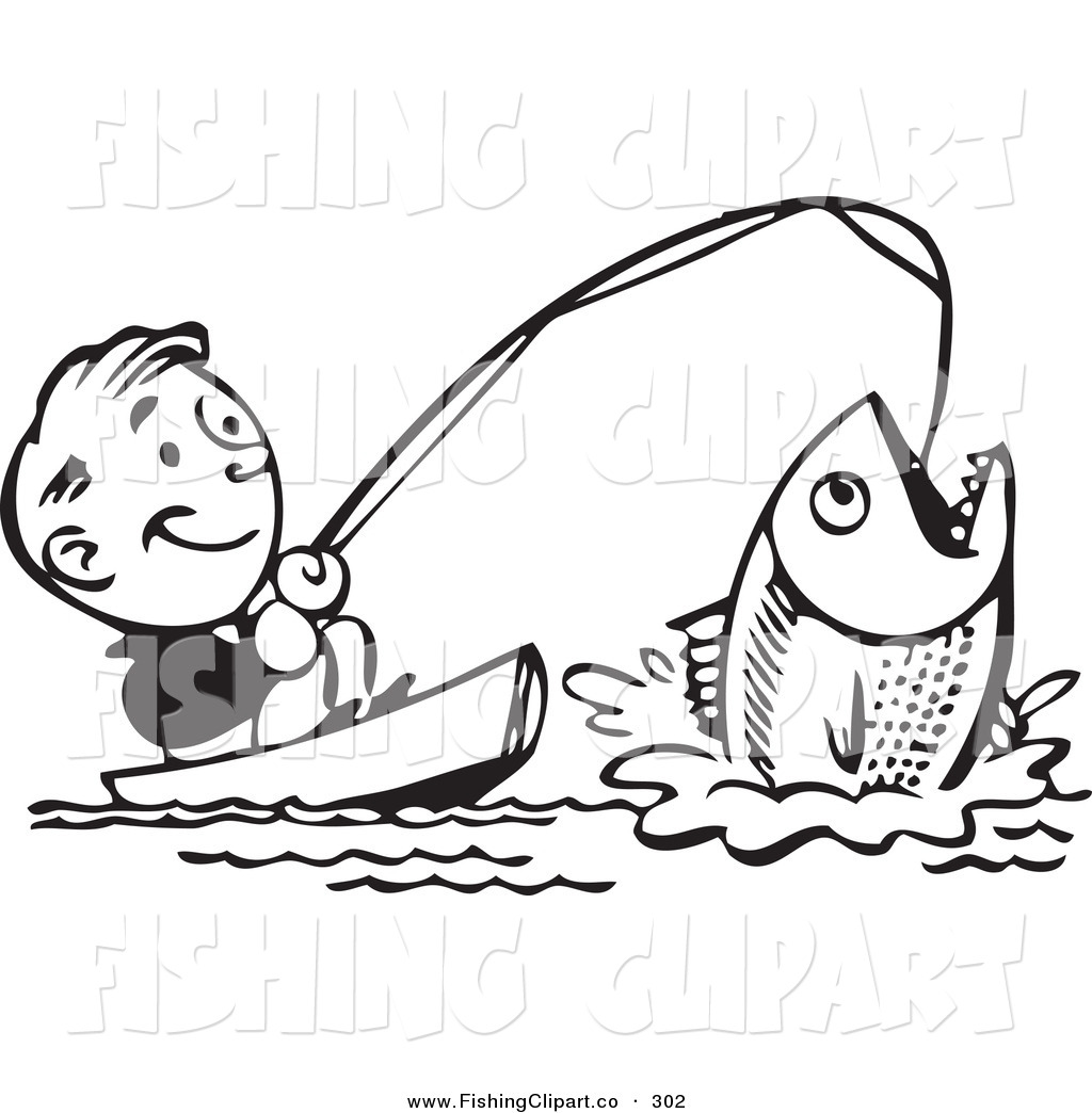 Vintage woman fishing clipart svg free library Clip Art of a Retro Black and White Man Catching a Giant Fish and ... svg free library