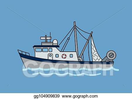 Fishing fleet clipart. Vector commercial trawler flat