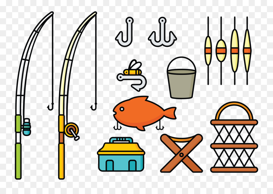 Fishing gear clipart. Cartoon yellow text transparent