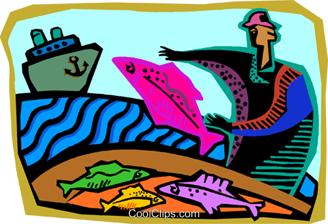 Fishing industry in clipart