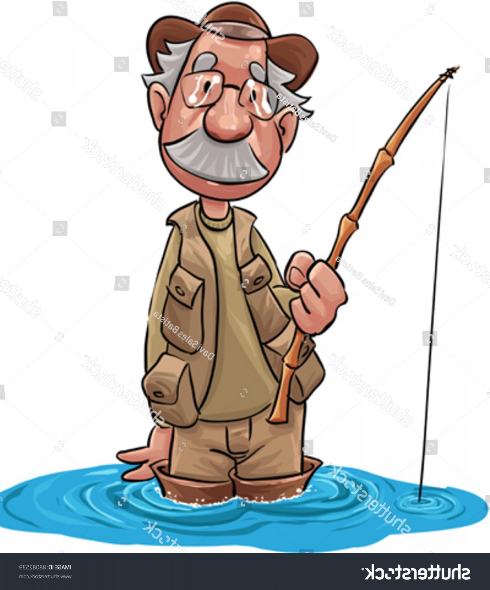 Fishing sayings clipart clip art black and white Old Fisherman Waiting Fish Take Hook   SOIDERGI clip art black and white