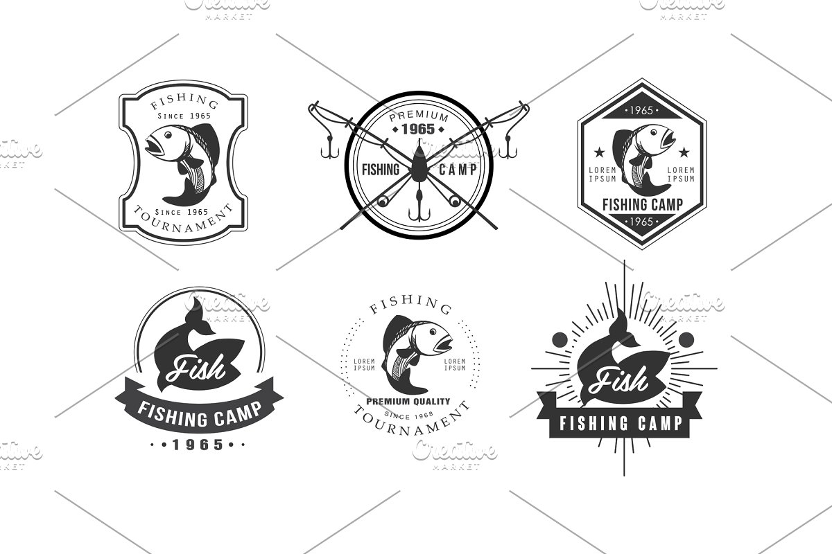 Fishing tournament clipart. Logo design