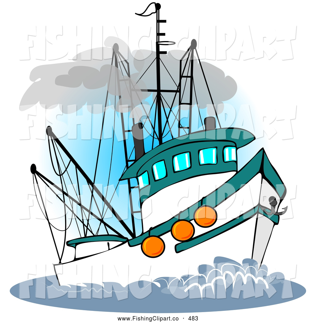 Fishing in a boat clipart graphic royalty free stock Clip Art of a Trawler Fishing Boat at Sea on White by djart - #483 graphic royalty free stock