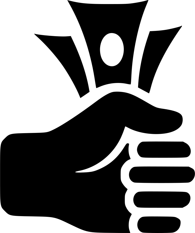Money fist icon black white clipart