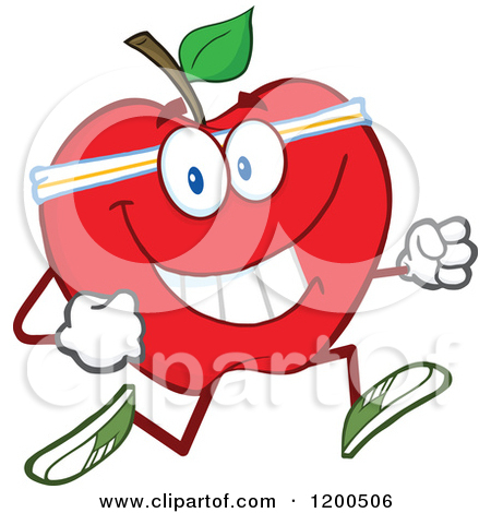 Fit and healthy clipart image transparent Cartoon of a Healthy Fit Green Apple Jogging - Royalty Free Vector ... image transparent