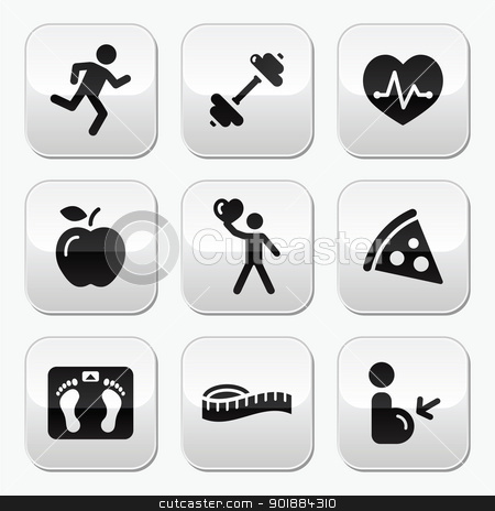 Fit and healthy clipart svg library Keep fit and healthy icons on glossy buttons stock vector svg library