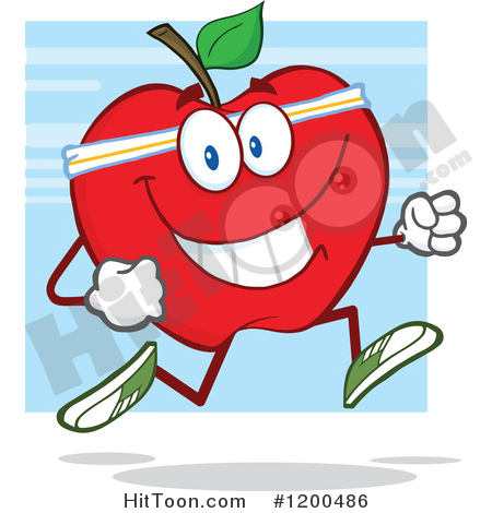 Fit and healthy clipart clip free Apple Clipart #1200486: Healthy Fit Red Apple Jogging over Blue by ... clip free