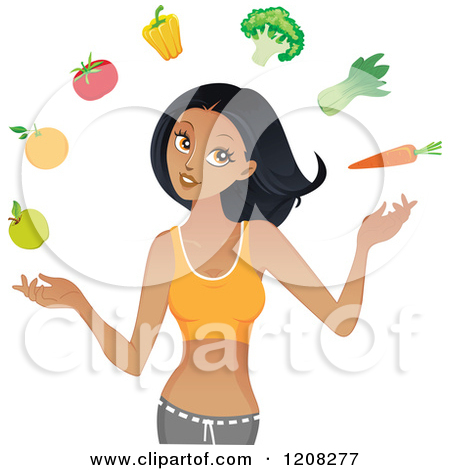 Fit and healthy clipart png black and white stock Cartoon of a Beautiful Fit Black Woman Juggling Healthy Produce ... png black and white stock