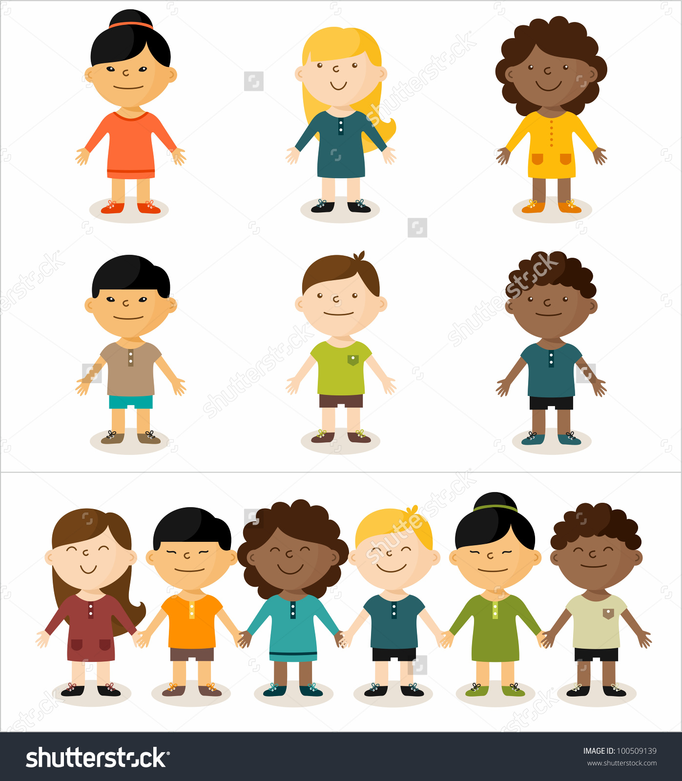 Fit kids clipart vector library stock Vector Illustration Cute Smiling Multicultural Children Stock ... vector library stock