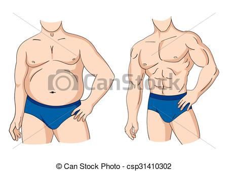 Fit man clipart image black and white library Vector Clipart of Fat And Fit Man Posture - Illustration of a fat ... image black and white library