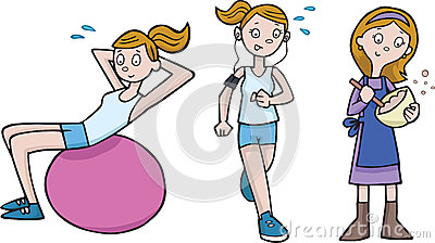 Fit mom clipart jpg library library Girls Working Out In Gym With Medicine Ball Stock Photo - Image ... jpg library library