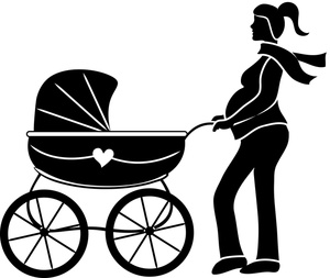 Fit mom clipart black and white Pregnant mom clipart free - ClipartFest black and white