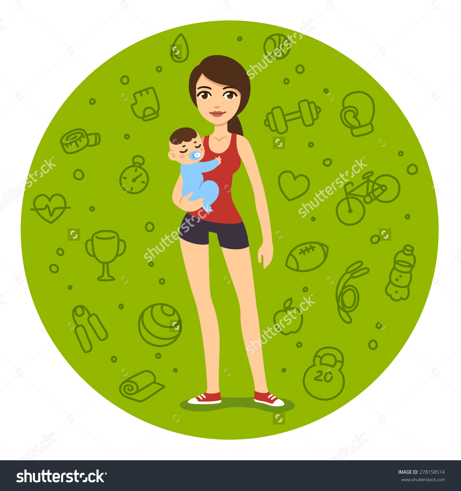 Fit mom clipart vector library stock Cartoon Fit Mom Sporty Clothes Holding Stock Vector 278158514 ... vector library stock