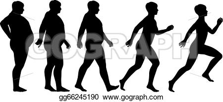 Fit person clipart clip art black and white Vector Stock - Fat to fit. Clipart Illustration gg66245190 - GoGraph clip art black and white