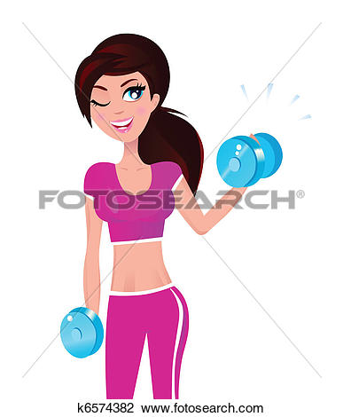 Fit person clipart clipart library Clip Art of Girl exercising with hand weights u17678292 - Search ... clipart library