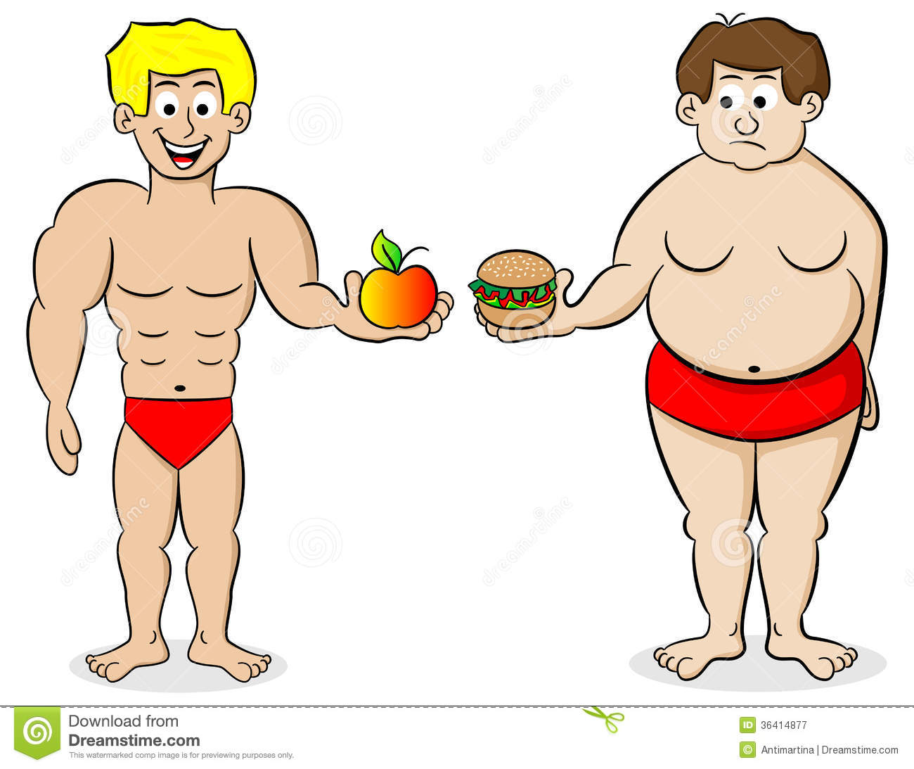 Fit person clipart transparent stock Fat And A Fit Man And Their Diet Royalty Free Stock Photography ... transparent stock