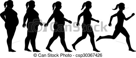 Fit woman clipart png black and white stock Vector Illustration of Fat to fit woman - EPS8 editable vector ... png black and white stock