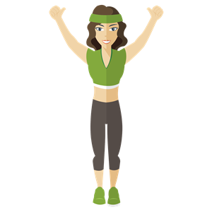 Fitness girl clipart. Flat shaded woman cliparts