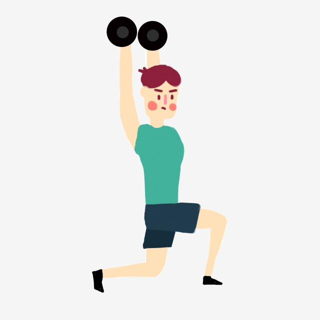 Fitness instructor clipart. Cartoon vector boy weightlifting