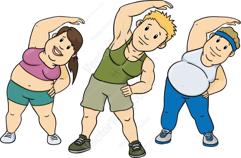 Fitness instructor clipart clip black and white stock Fitness instructor and an overweight woman and man stretching ... clip black and white stock