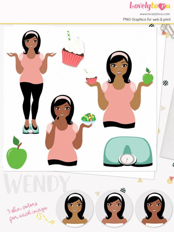 Fitness weight loss clipart. Woman character exercise illustration