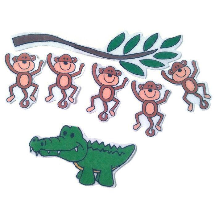 Five little monkeys swinging in a tree clipart picture black and white library 5 Little Monkeys Swinging In A Tree, Fingerplay, Nursery Rhyme, Felt ... picture black and white library