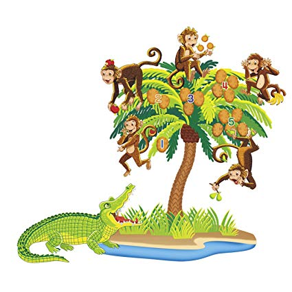 Five little monkeys swinging in a tree clipart clipart freeuse download Little Folk Visuals Five Monkeys Sitting in a Tree Precut Flannel/Felt  Board Figures, 7 Pieces Set clipart freeuse download