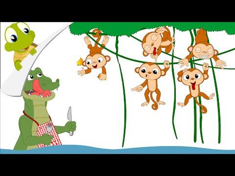 Five little monkeys swinging in a tree clipart png royalty free Five little monkeys nursery rhyme - YouTube png royalty free